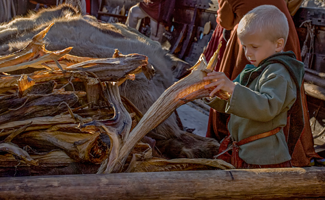 Magnus checking the supplies of Stockfish before aViking voyage - Image copyrighted © Gary Waidson. All rights reserved.