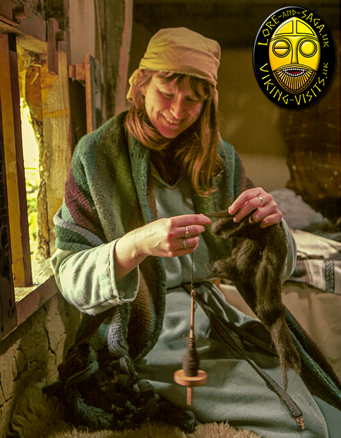 Debs spinning wool in the Grubenhouse at Danelaw Viking  - Image copyrighted © Gary Waidson. All rights reserved.