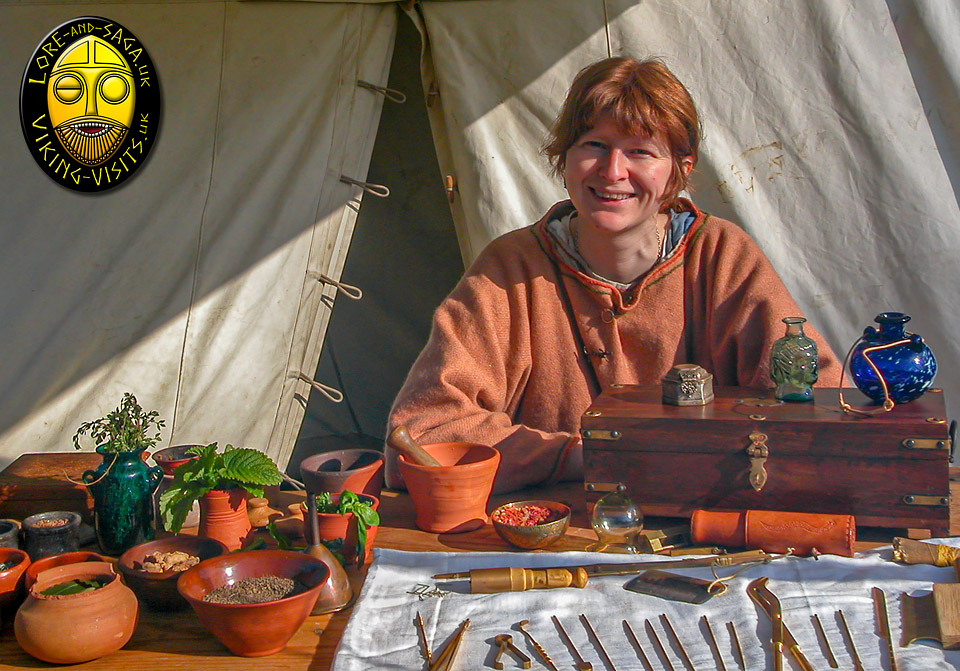 Debs with her Roman Medicine display at Chedworth Roman Villa - Image copyrighted © Gary Waidson. All rights reserved.