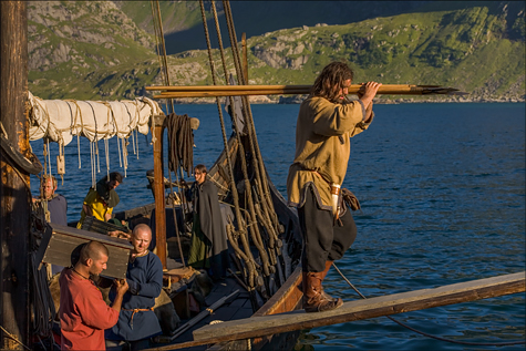 Crew unloading a Viking longship - Image copyrighted © Gary Waidson. All rights reserved.