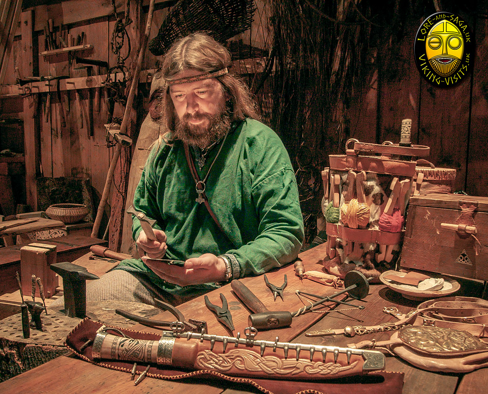 Wayland working with silver to decorate the chieftain's knife hilt and scabard at Lofotr Viking Museum - Image copyrighted © Gary Waidson. All rights reserved.