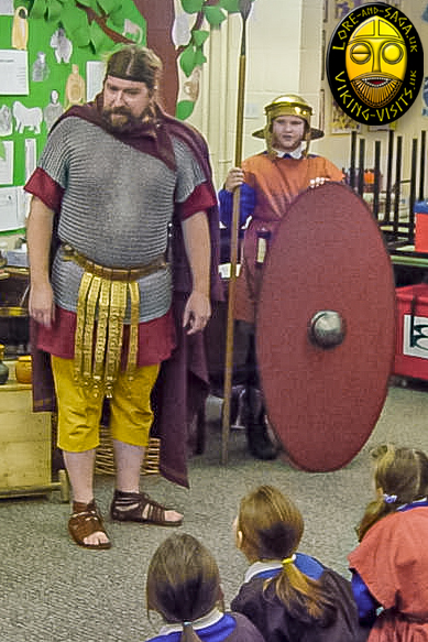 Child dressed as Auxiliary Soldier on a Roman in-school visit by Lore and Saga - Image copyrighted © Gary Waidson. All rights reserved.