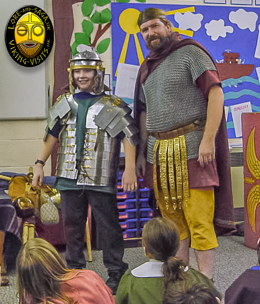 Child dressed in Legionary armour on Roman in-school day. - Image copyrighted © Gary Waidson. All rights reserved.