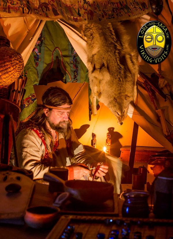 Viking craftsman working by lamplight. Image copyrighted © Gary Waidson. All rights reserved.