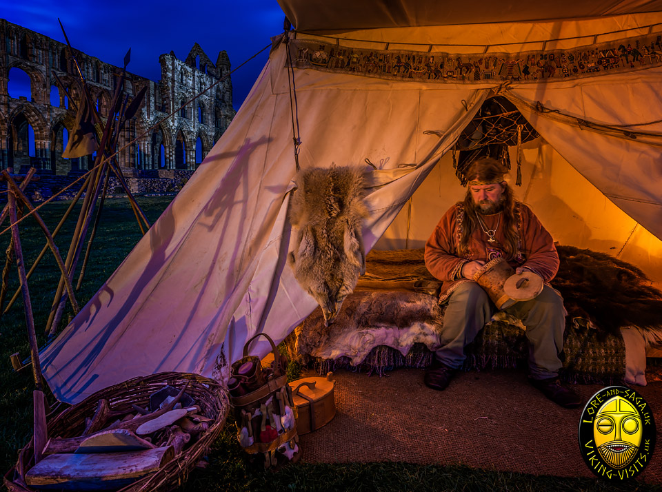A Viking craftsman working by lamplight at Whitby.- Image copyrighted © Gary Waidson. All rights reserved.